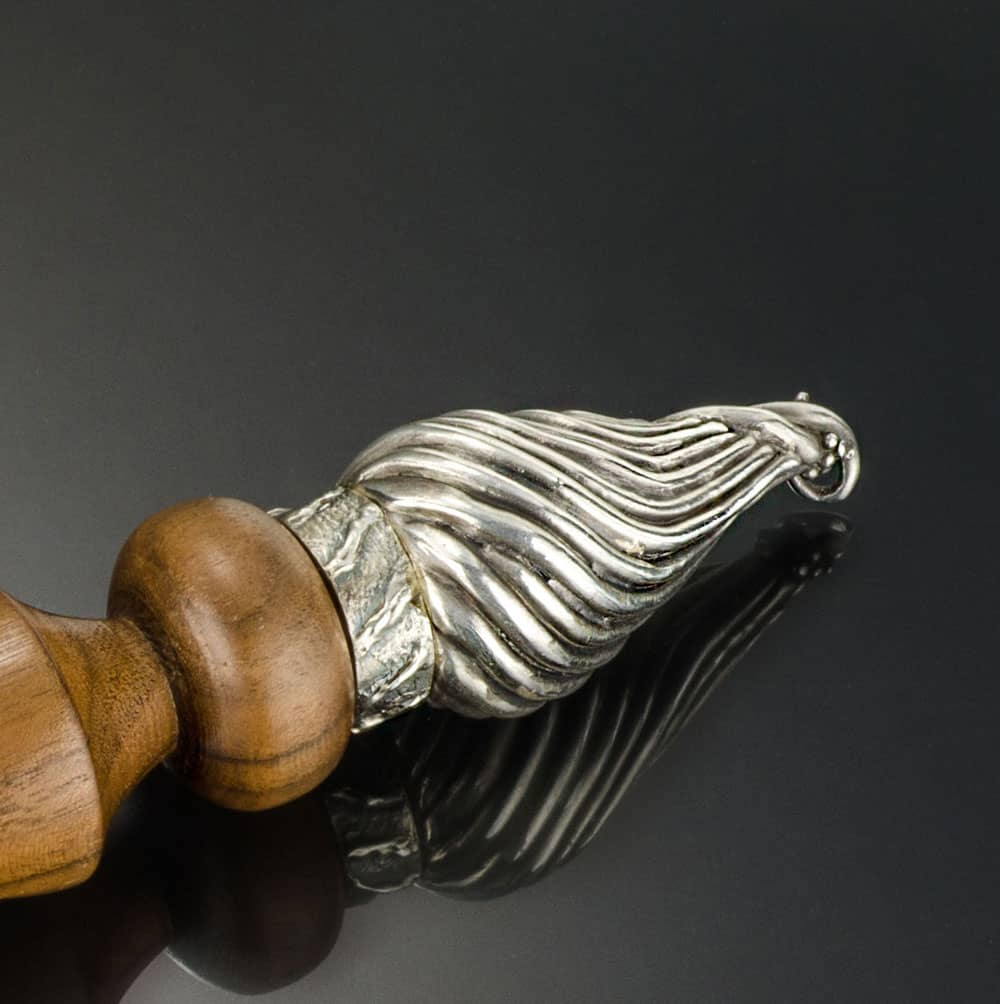 Wooden Icicle with Silver Finial and Rings by Julia Rai