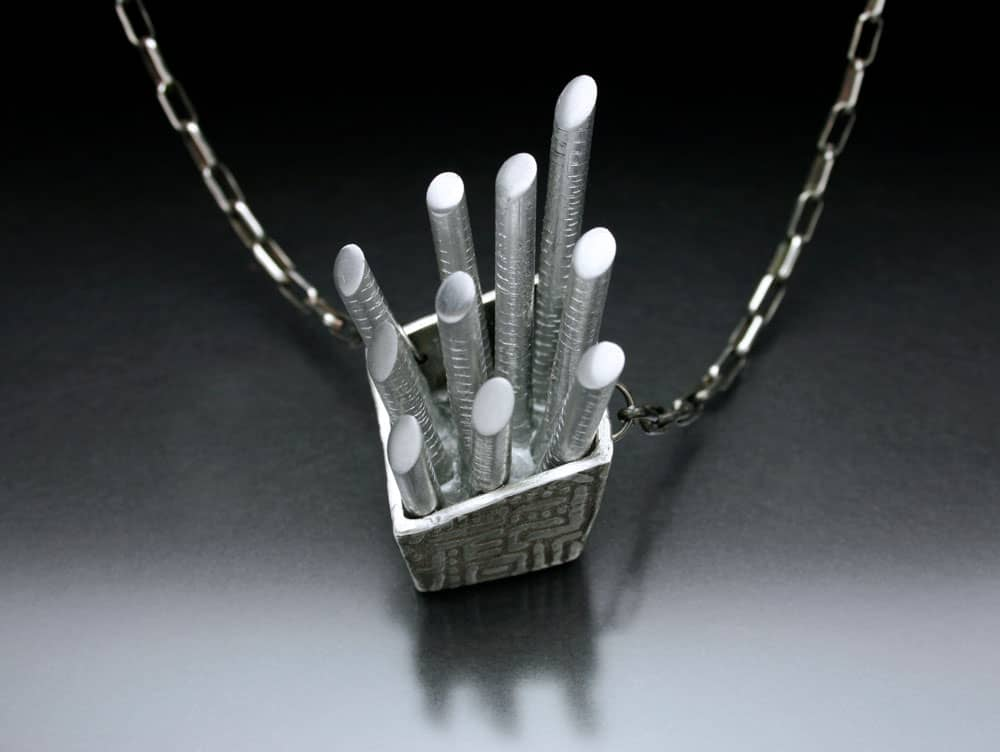 Aluminium and silver necklace by Julia Rai