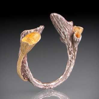 Silver and Gold Pod Ring by Julia Rai