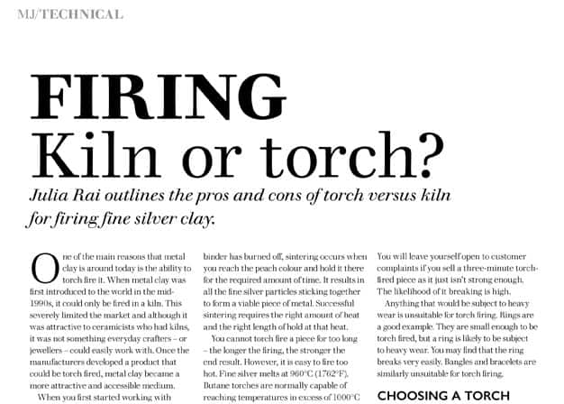 Firing Kiln or Torch Article by Julia Rai