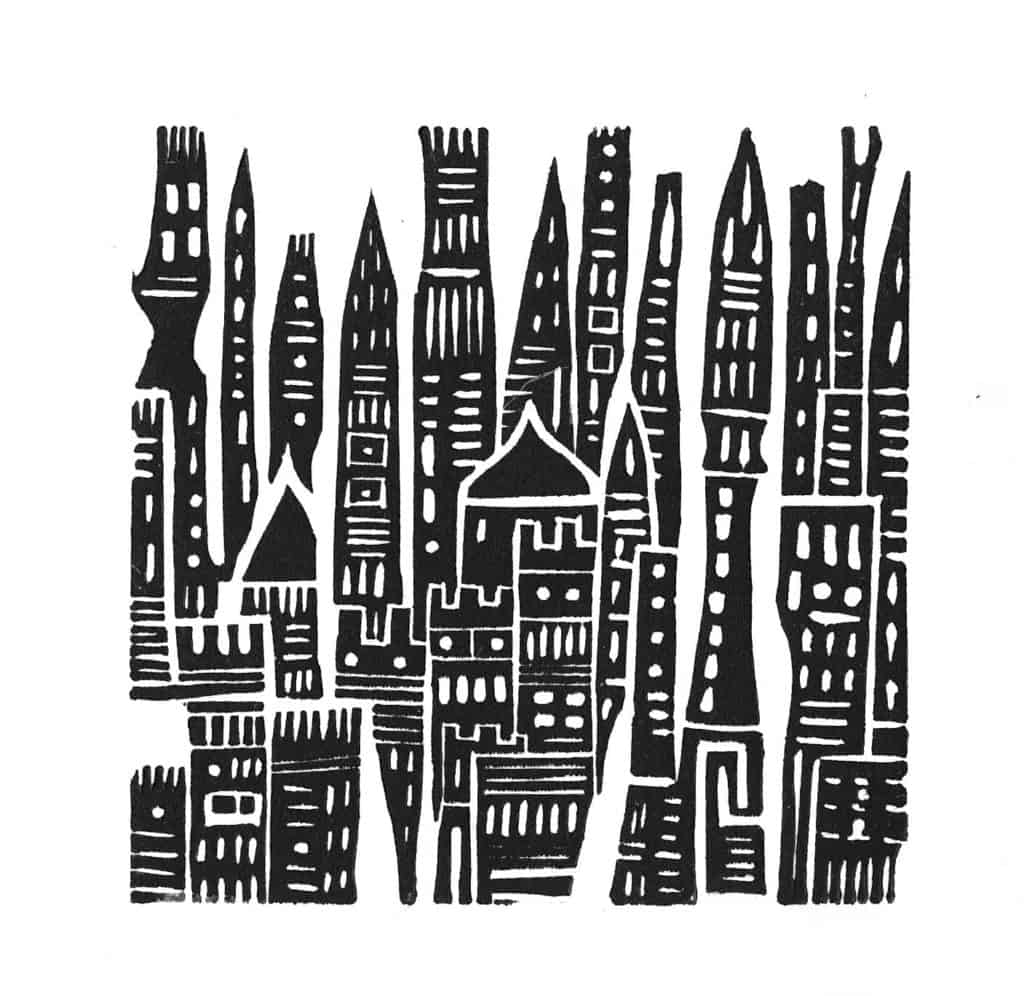 Lino cut city by Julia Rai
