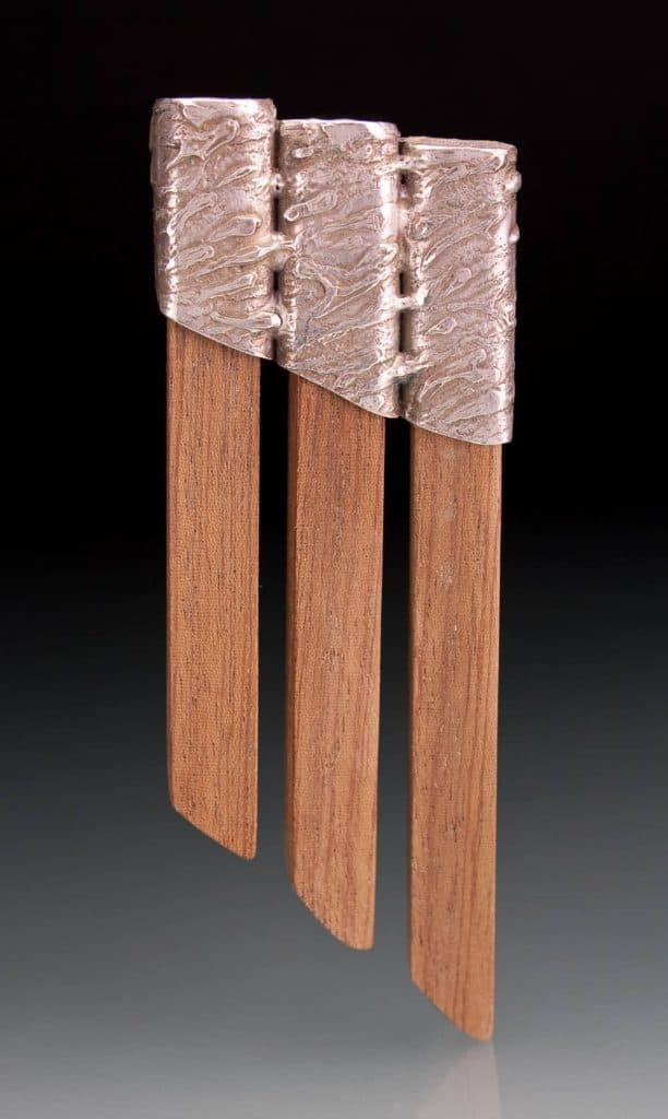 Wood and silver brooch by Julia Rai