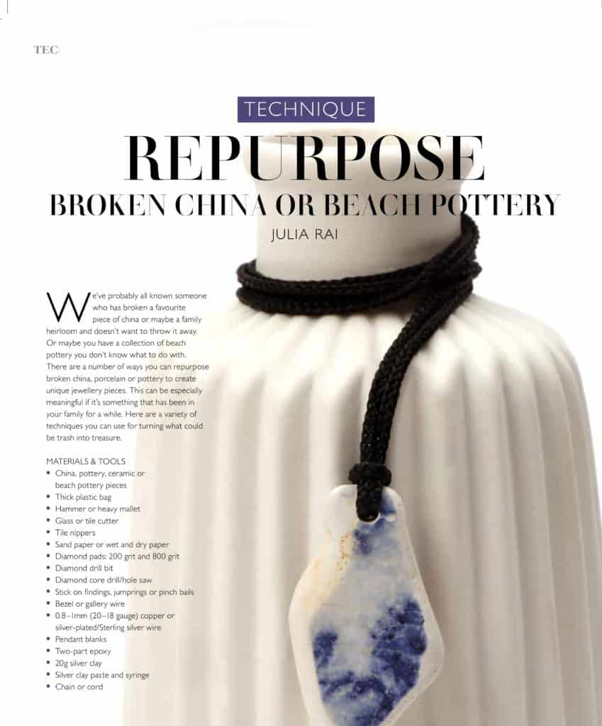 Repurpose Broken China or Beach Pottery Article by Julia Rai