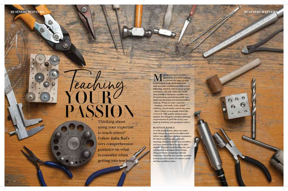 Teaching your passion article in Making Jewellery magazine by Julia Rai