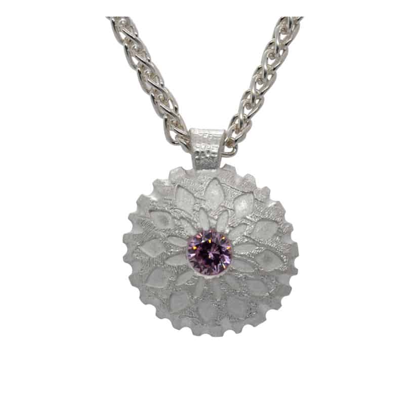 Lentil Bead pink stone set pendant on Craftcast with Julia Rai